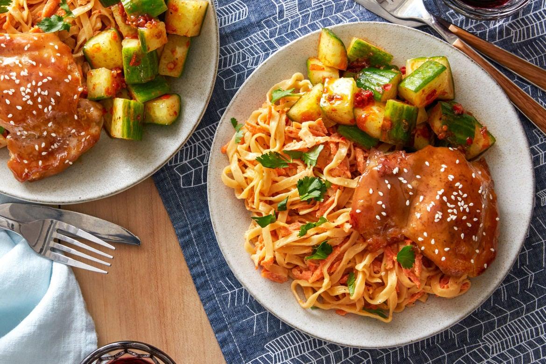 Hoisin-Glazed Chicken with Sesame Noodles & Spicy Marinated Cucumber
