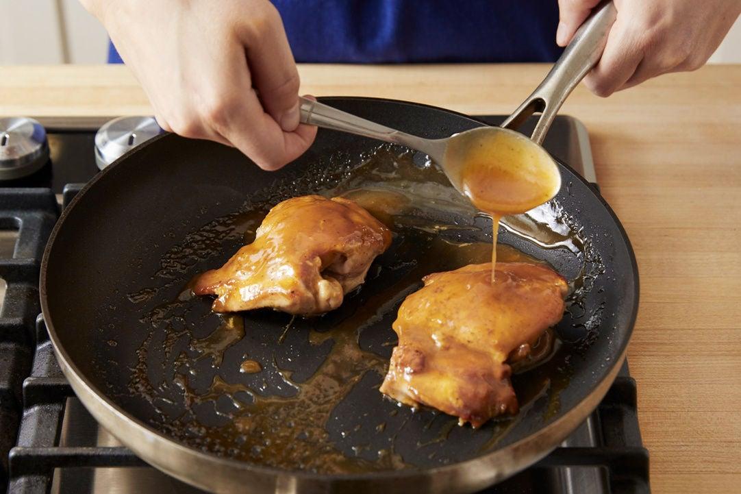 Cook & glaze the chicken: