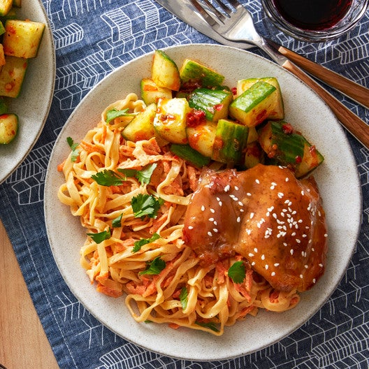 Hoisin-Glazed Chicken with Sesame Noodles & Spicy Marinated Cucumber