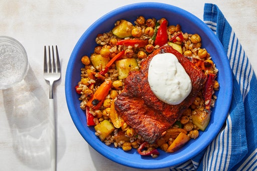 Spiced Salmon & Garlic Yogurt with Crispy Chickpea & Farro Salad