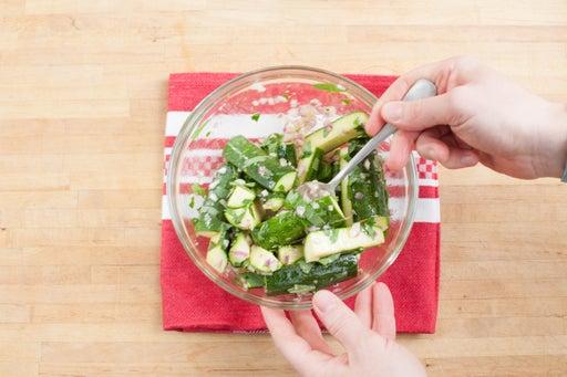 Marinate the zucchini: