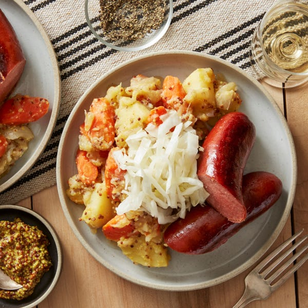 Beef Knockwurst & Sauerkraut with Potato Salad & Whole Grain Mustard