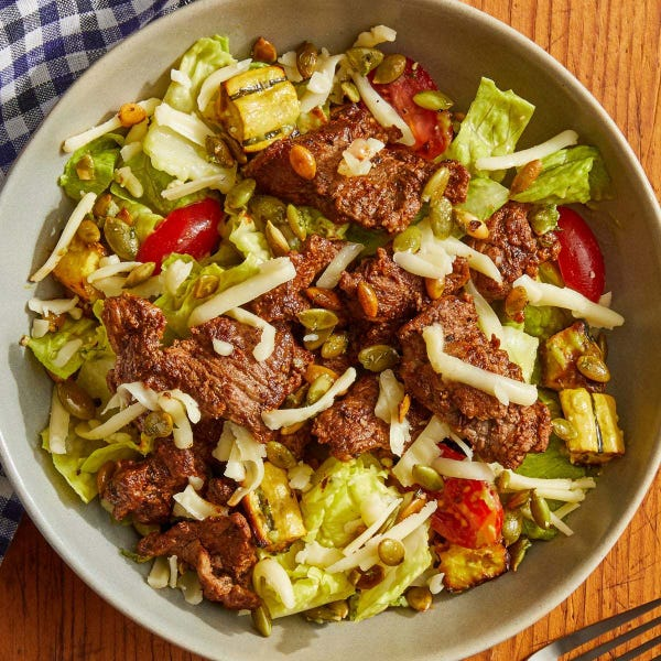 Chipotle Beef Salad with Lime Pepitas & Guacamole Dressing
