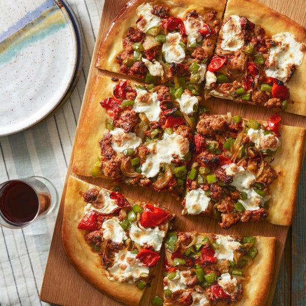 Italian-Spiced Pork Pizza with Sautéed Onion & Bell Pepper
