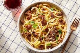 Hot Italian Pork Sausage & Brussels Sprouts with Bucatini Pasta