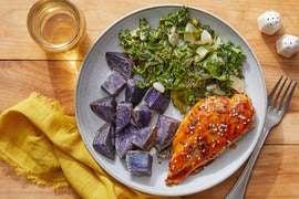 Chicken Teriyaki & Miso Kale with Sesame-Roasted  Purple Potatoes