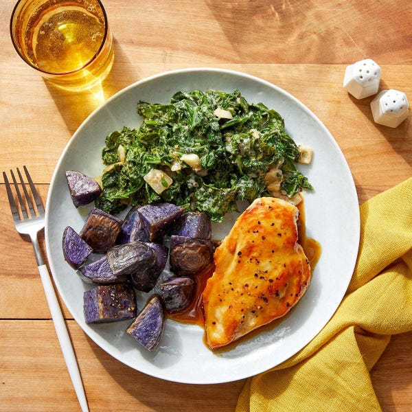 Chicken Teriyaki & Miso Kale with Sesame-Roasted  Purple Potatoes