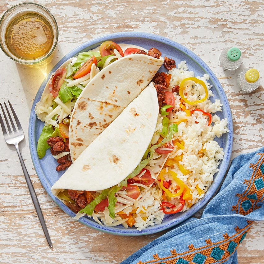Chipotle  Beyond Beef™ Tacos with Fresh Tomato Salsa  & Monterey Jack Cheese