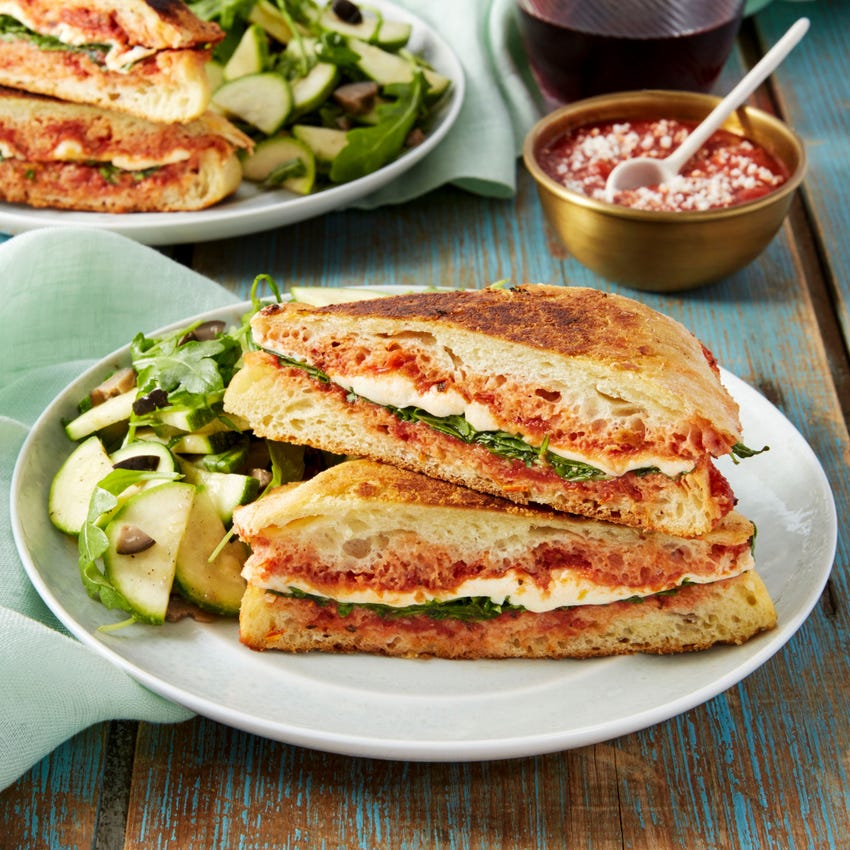Mozzarella & Arugula Paninis with Marinated Summer Squash & Olive Salad