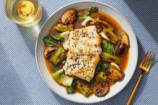 Miso-Mirin Cod with Vegetables & Black Bean-Sesame Sauce