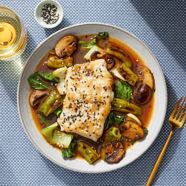 Miso-Mirin Cod with Vegetables & Black Bean-Sesame Sauce