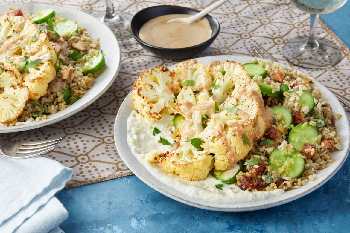 Roasted Cauliflower & Freekeh Salad with Lemon-Yogurt Sauce & Spiced Tahini Dressing