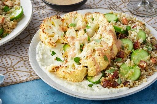 Roasted Cauliflower & Freekeh Salad with Lemon-Yogurt Sauce & Spiced Tahini Dressing