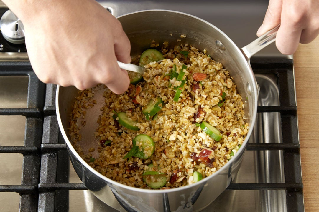 Finish the freekeh & plate your dish: