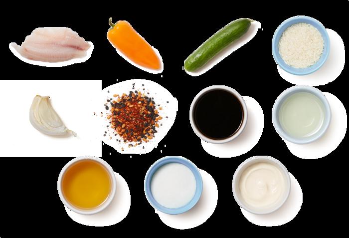 Togarashi Tilapia & Garlic Rice with Marinated Cucumbers & Sweet Peppers