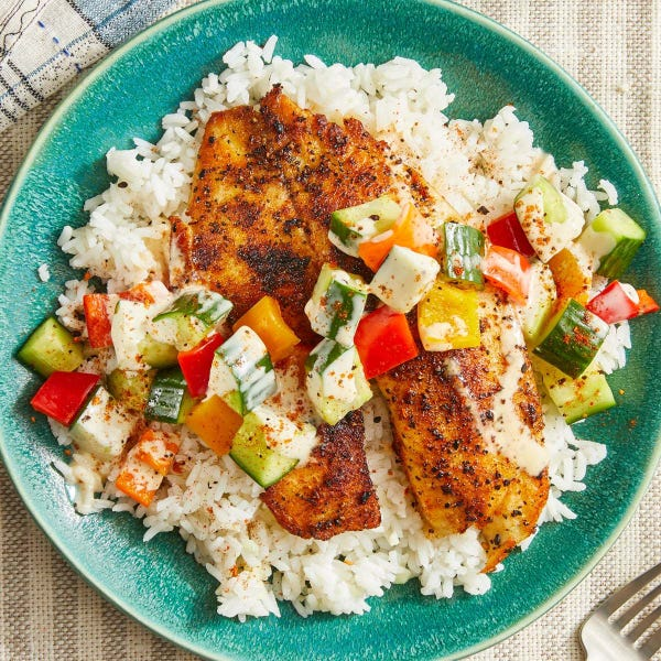 Togarashi Tilapia & Garlic Rice with Marinated Cucumbers & Sweet Peppers