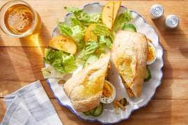 Egg, Cucumber & Smoked Gouda Spread with Baguette