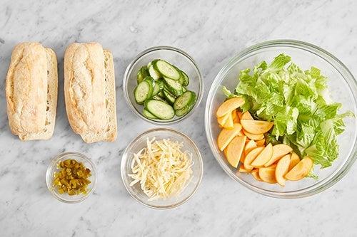 Prepare the ingredients & marinate the cucumber: