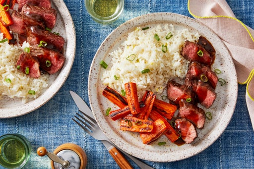 Hoisin & Ponzu Steaks with Roasted Carrots & Garlic-Ginger Rice
