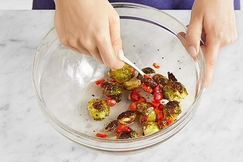 Finish the brussels sprouts & serve your dish: