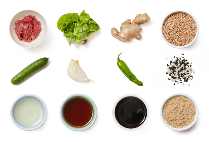 Teriyaki Beef Lettuce Cups with Shishito Pepper Farro & Marinated Cucumber