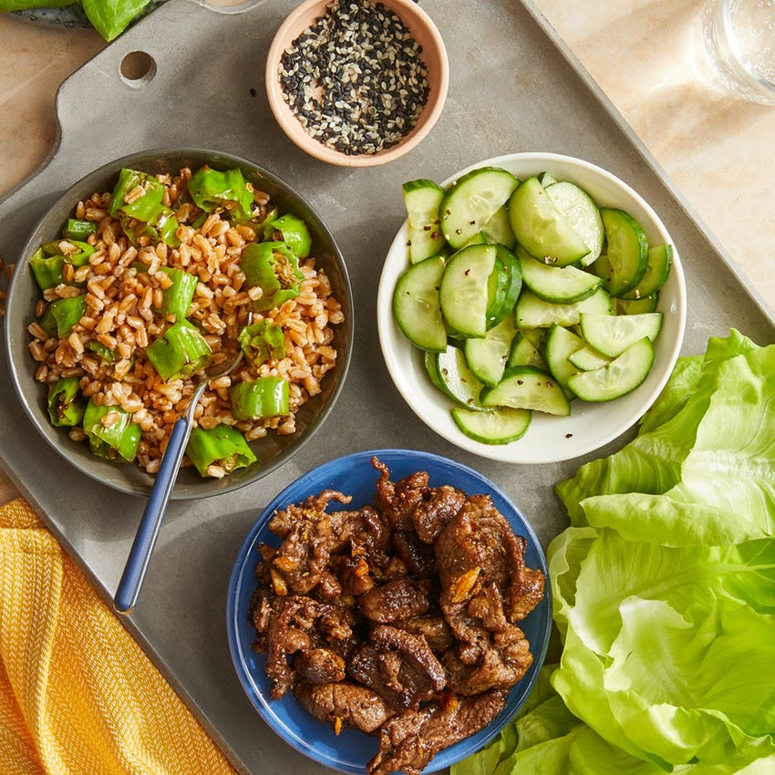 Teriyaki Beef Lettuce Cups with Shishito Pepper Farro & Marinated Cucumber