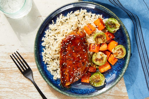 Tamarind Chicken with Brown Rice & Sesame-Roasted Vegetables