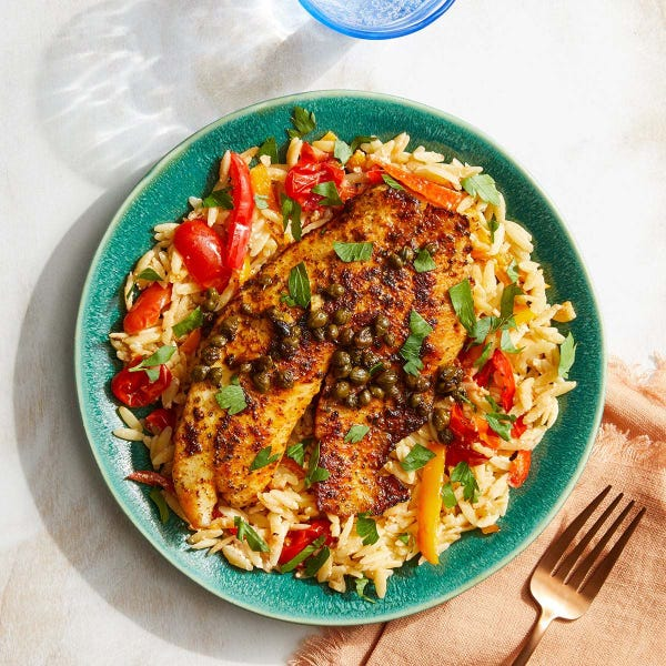 Tilapia Piccata with Orzo, Tomatoes & Sweet Peppers