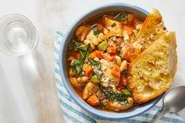 Chicken & White Bean Soup with Crispy Garlic Toast