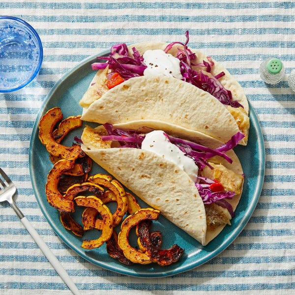 Tomatillo Fish Tacos with Chipotle-Roasted Squash