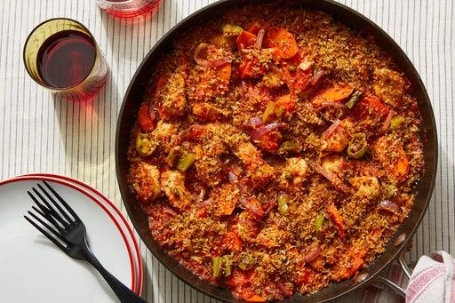 Italian Chicken & Veggie Skillet with Crispy Parmesan Breadcrumbs