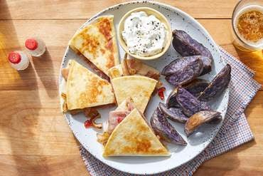 Prosciutto Quesadillas with Purple Potatoes & Jalapeño Sour Cream