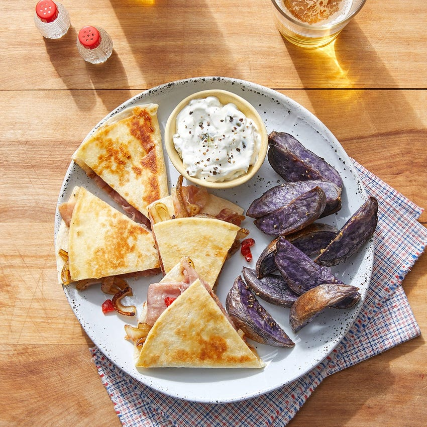 Prosciutto Quesadillas with Purple Potatoes & Jalapeño Sour Cream