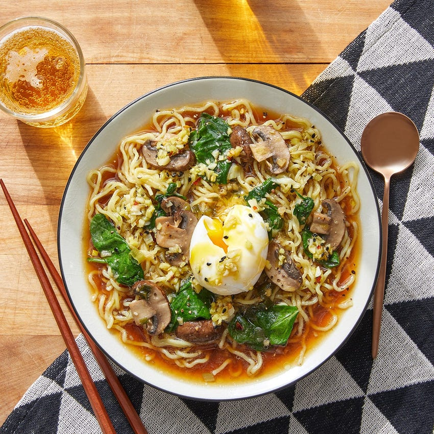Soy-Miso Ramen with Spinach & Homemade Garlic Oil