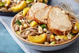 Roasted Pork & Soba Noodles with Sweet Chili-Glazed Vegetables
