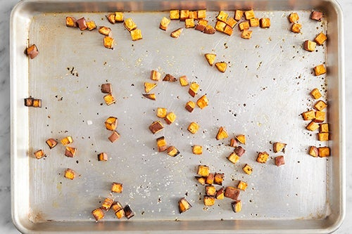 Prepare & roast the sweet potato: