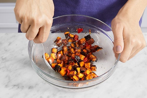 Finish the sweet potato & serve your dish: