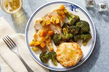 Seared Chicken & Spicy Persimmon with Cheddar Biscuits & Spiced Honey Butter
