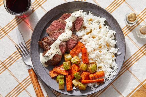 Seared Steaks & Tomatillo Sour Cream with Mexican-Spiced Carrots & Chayote Squash