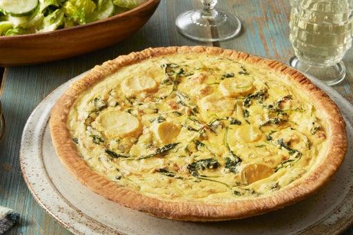 Fingerling Potato & Ricotta Quiche with Romaine & Cucumber Salad