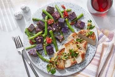 Seared Pork Chops & Gremolata with Purple Potato & Green Bean Salad
