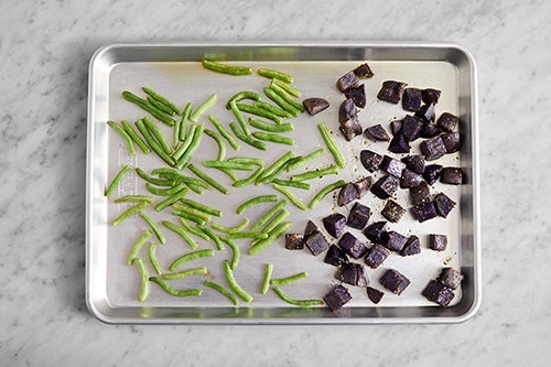 Roast the green beans & potatoes:
