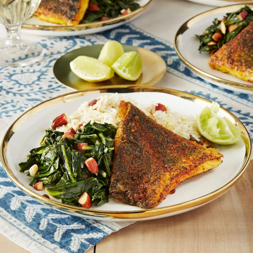 Sumac-Spiced Barramundi with Coconut Rice & Collard Greens