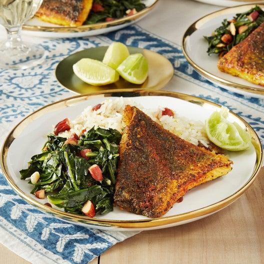 Sumac-Spiced Barramundi with Coconut Rice & Collard Greens