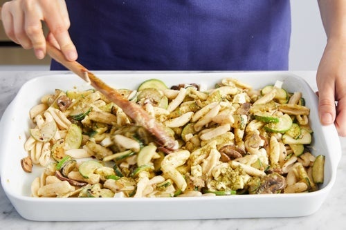 Cook the zucchini & assemble the casserole: