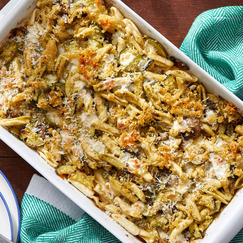 Cheesy Pesto Baked Cavatelli with Zucchini & Mushrooms