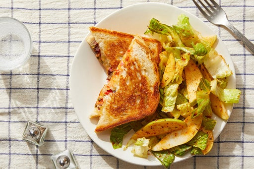 Muffuletta-Style Grilled Cheese with Cajun Vinaigrette-Dressed Salad