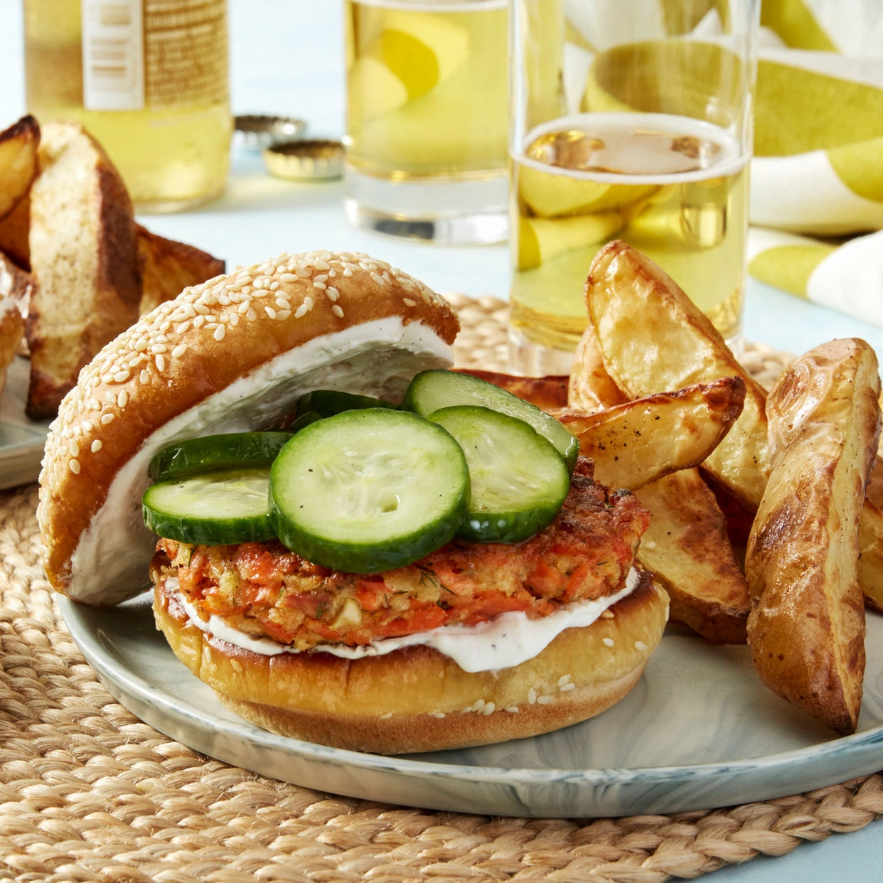 Salmon-Dill Burgers with Marinated Cucumber & Roasted Potatoes