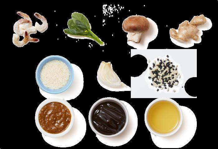 Cumin-Sichuan Shrimp with Mushrooms, Yu Choy & Jasmine Rice