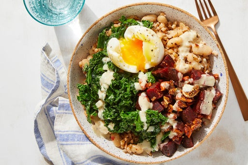 White Bean & Farro Bowls with Figs, Beets & Tahini Dressing